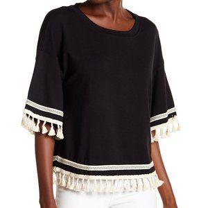 Harlowe Graham Black Tassel Pom Oversized Shirt M